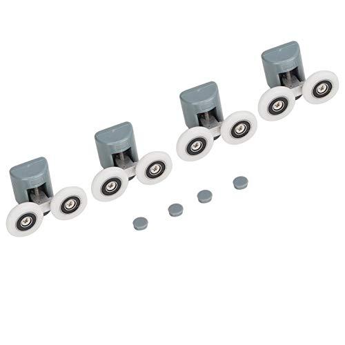 DAUERHAFT Rodillos para Puertas de Ducha Rodillos para Puertas correderas Resistentes y duraderos, para Puertas de baño con reemplazo Ideal, para Puertas de casa(Double Wheel)