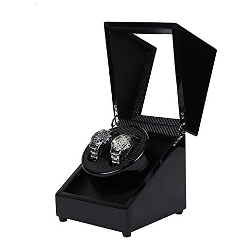 男性と女性の腕時計(黒)に適した静かなモーターと自動のための二重木製の時計のワインダー