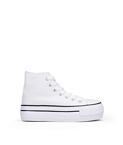 BOSANOVA Zapatillas Blancas Abotinadas con Plataforma y Cordones para Mujer | Blanco 41