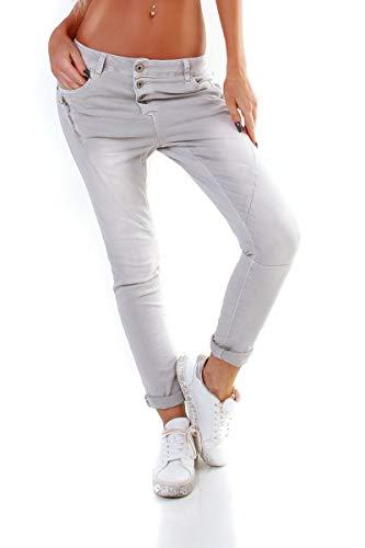 OSAB-Fashion 4000 Damen Jeans Röhrenjeans Hose Boyfriend Haremscut Knopfleiste Zipper