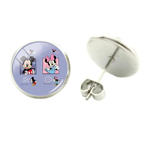 Pendientes de Mickey Mouse con diseño de Minnie y Mickey Mouse con gancho hecho a mano para mujer