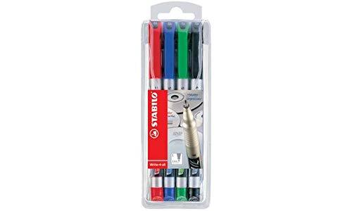 Stabilo - Pennarello indelebile Write-4-all, punta fine, confezione da 4 pezzi, astuccio in plastica