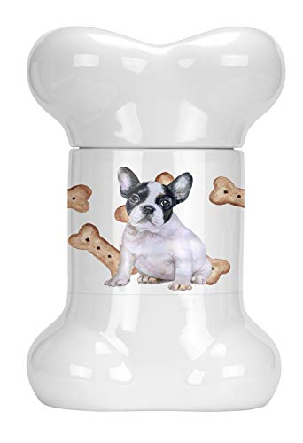 Caroline's Treasures CK2290BSTJ French Bulldog Black White Bone Shaped Treat Jar, multicolor