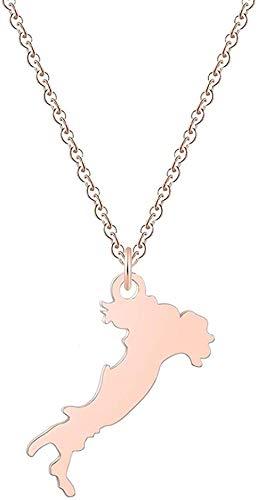 WYDSFWL Collar Simple Italia Mapa de Acero Inoxidable Mental para Mujeres Hombres Collar de Moda joyería único Mejor Collar