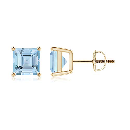 Classic Basket-Set Square Aquamarine Stud Earrings in 9K Yellow Gold (6mm Aquamarine)