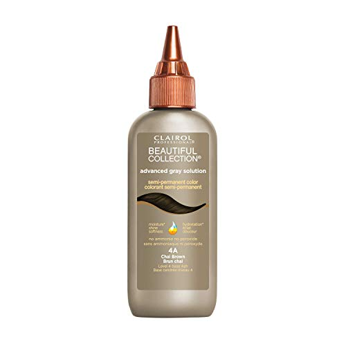 Clairol Professional Beautiful Collection, Advanced Gray Hair Solution, Semi-Permanent Hair Color 4A Chai Brown