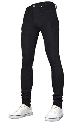 SK-1 Apparel Herren-Jeans, super skinny, elastisch, verwaschen, mit Zierrissen Gr. 28W x 32L, Schwarz