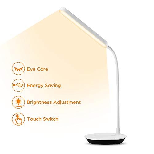 Oyihoo Lampada da Scrivania a LED, Lampada da Tavolo Lampada da Tavolo per la Protezione degli Occhi con 3 modalità di Illuminazione, Dimmerabile, Touch Control, Porta di Ricarica USB.
