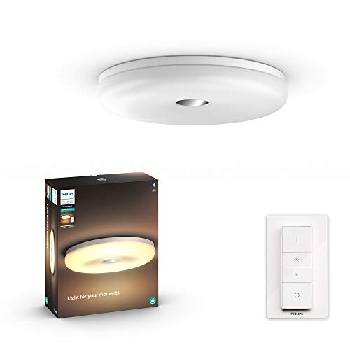 Philips Hue White Ambiance Struana Plafoniera Smart da Bagno, LED Integrato, Bluetooth, Telecomando Dimmer Switch Incluso 39 W, Bianco