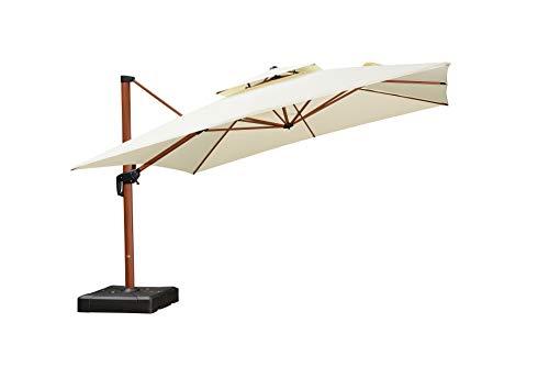 PURPLE LEAF 12ft Patio Umbrella Outdoor Square Umbrella Large Cantilever Umbrella Windproof Offset Umbrella Heavy Duty Sun Umbrella for Garden Deck Pool Patio, Cream