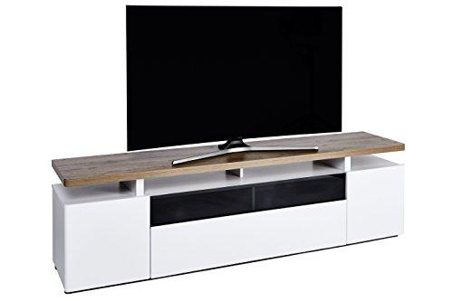 Movian Spey - Meuble TV pour télévisions de 80 pouces maximum, 190 x 42 x 54 cm, Finition chêne Riviera/blanc mat
