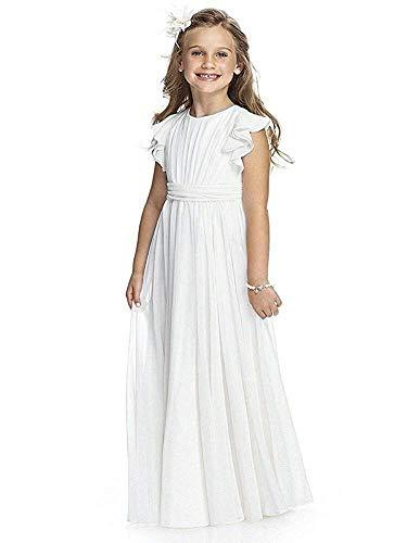 CDE Boho Lange Kinder Chiffon Kleid mit Binde Gürtel und Kurzen Butterfly-Ärmeln/Vintage Chic A-Linie Kommunionkleider Brautjungfern Kleider Blumenmädchenkleider für Mädchen 2-12 Jahr (Weiß, Größe 12)