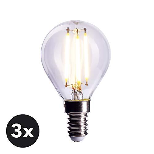 CROWN LED 3 x Filament Glühbirne E14 Fassung, 4W, Dimmbar, Ersetzt 40W Birne, Warmweiß, 230V, FL01, Klare Lampe zur hellen Beleuchtung