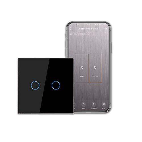 CNBINGO Interruptor de luz Wi-Fi, interruptor táctil inteligente, funciona con Alexa/Google Home, panel táctil de cristal y LED de estado, 2 interruptores de 1 polo, color negro.