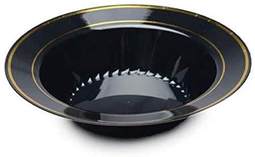 Silver Splendor Paquete de 15 elegantes cuencos de fiesta de plástico duro de peso pesado  Tazones para servir sopa  Cuencos de plástico negros