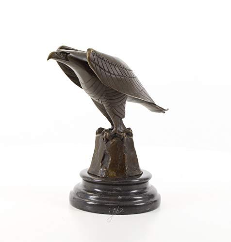 Moritz Design Bronze Statue Adler Eagle auf Stein mit Mamorsockel 12,1 x 21,1 x 20,6 cm Skulptur Bronzestatue Bronzefigur Bronzeskulptur