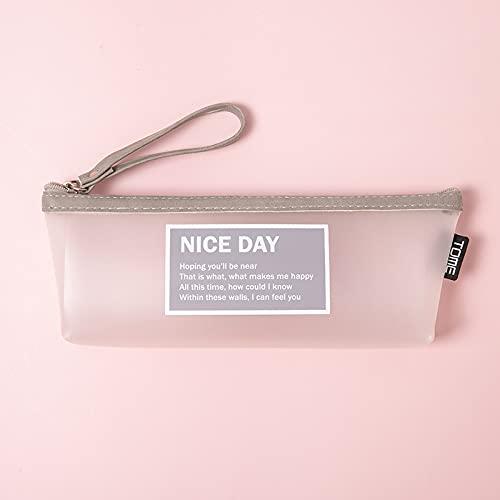 CNYG Estuche para lápices para rotuladores y lápices, bolsa de papelería para oficina, adulto, adolescente, estudiante, transparente, con cremallera, bolsa de viaje gris, 20 x 8,5 x 4 cm