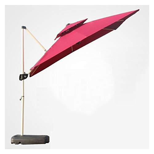 Outdoor Parasols Umbrella Double Top Rectangular Cantilever Umbrella Long Handle Beach Umbrellas For Courtyard, Garden, Terrace, Tilt Umbrella Parasol (Color : Wine red, Size : 3M)