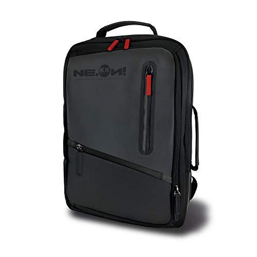 NE.ON TECH X2, Borsa riflettente luminosa, Ad alta visibilità, Zaino impermeabile con tre scomparti adatto come zaino da viaggio, borsa da lavoro e zaino da città con tasca porta pc (Black)