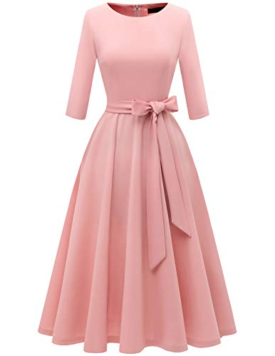 Women Prom Tea Dress Vintage Swing Cocktail Spring Dress, 3/4 Sleeves Scoop Neck Blush M