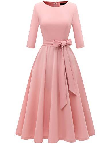 DRESSTELLS Damen Jugendweihe Kleider Retro Cocktailkleid 3/4 Arm Rundasuschnitt Abendkleid Knielang Rosa Kleider Blush M
