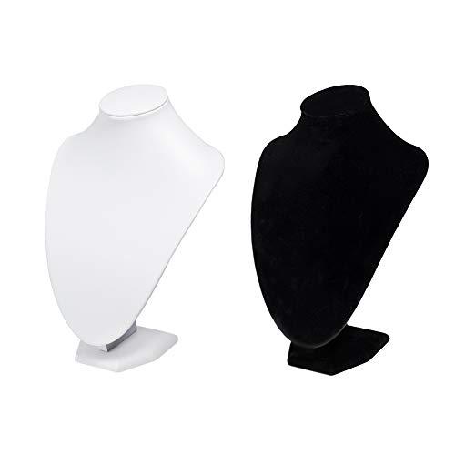 PandaHall Elite 2pcs Kunstleder 3D Büste Halskette Anhänger Kette Display Halter Ständer für Frauen, White & Black
