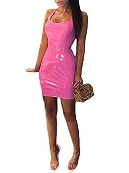 Lookwoild Womens Faux Leather Bodycon Dress Deep U Neck Shoulder Strap Mini Dress Clubwear  Pink S