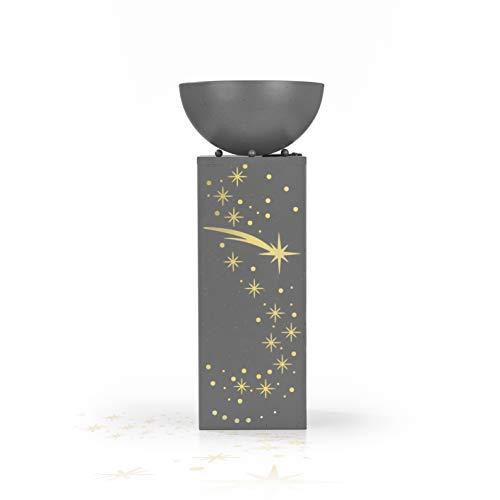 EASYmaxx LED-Pflanzsäule Sternschnuppen in Beton-Optik | Dekosäule mit Pflanzschale ca. Ø 25 cm | Integrierte Timerfunktion, warmweiß leuchtende LEDs | Für innen und aussen [59 cm]
