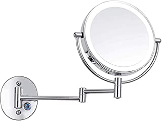 LED Makeup Vanity Mirror, Two-Sided Wall Mounted Beauty Mirror Multiple Magnification Bathroom Mirror 360° Swivel Extendable Cosmetic Mirror,10x, Bathroom