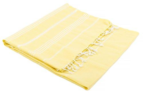 Turkish Emporium Pestemal 'Sultan' toalla de baño toalla de baño toalla de baño con diseño de rayas y con flecos, amarillo, 100 x 170 cm