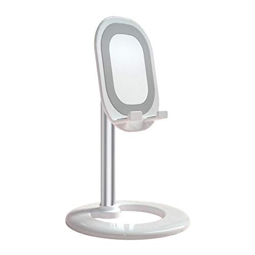 Soporte para teléfono móvil, ángulo ajustable, altura de escritorio, soporte universal, soporte de metal, retráctil, para aula, soporte en vivo, color plateado
