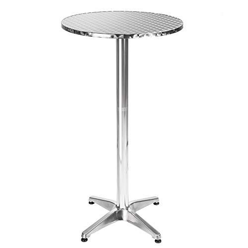 TecTake Table haute de bar rabattable aluminium hauteur réglable 74 ou 114 cm Ø 60cm - Tube central Ø: 5,8 cm - 8,3 kg (\