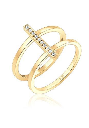 Elli anillos doble para mujer con solitario y cristales de Swarovski, fabricados en plata de ley 925