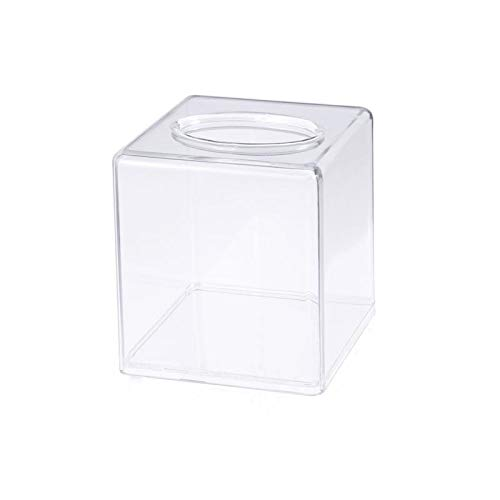 HAOTENG Caja de pañuelos Caja de pañuelos Acrílico Moda Transparente Cuadrado Pañuelo Caja de Almacenamiento de Papel Para Hoteles Hogar Restaurantes 12.5x12.5x14cm
