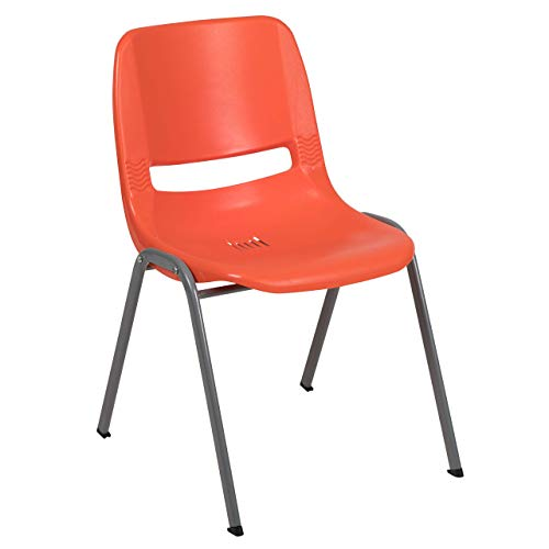 Flash Furniture HERCULES Series 5 Pack 880 lb. Capacity Orange Ergonomic Shell Stack Chair with Gray Frame