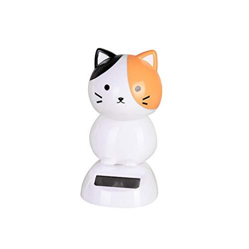 Figura solar de gato de LUOEM, figura de animales, figura de animales, para la oficina, decoración de mesa, escritorio, coche, salpicadero, decoración (amarillo)