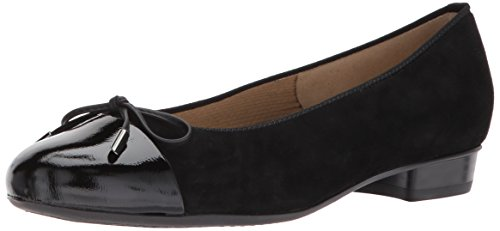 ARA Women's Betty Ballet Flat, Black Suede, 6 M US
