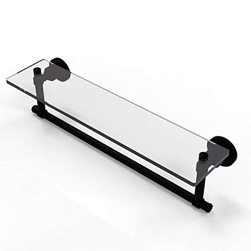 Allied Brass WS-1TB/22-BKM Glass Shelf with Towel Bar, 22-Inch x 5-Inch