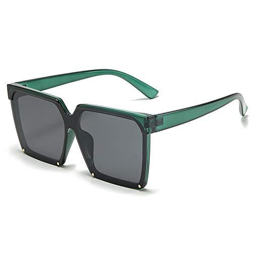 Damas Gafas de Sol polarizada Anti-Ultravioleta Moda Retro Cuadrado clásico Lente Grande Gafas de Sol, Rosa, Verde, púrpura (Color : Green)