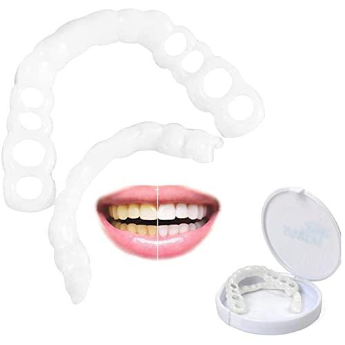 CFSYS Dentaduras Postizas Dientes Temporales Carillas Superiores e Inferiores Dientes cosméticos, Sonrisa Minutos Carillas dentales cosméticas, 2 Pares