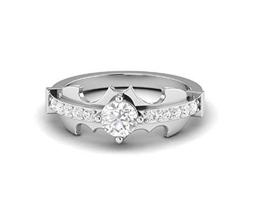 Anillo de Batman para mujer, plata de ley 925, anillo de diamante de 1 quilates, anillo de compromiso para mujer, mensaje con nosotros tu tamaño de anillo.