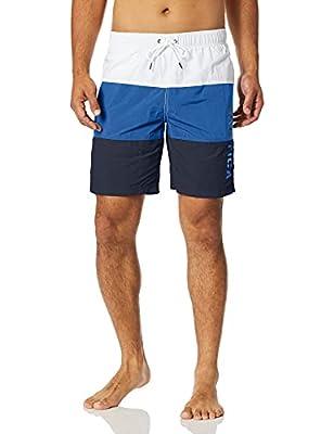 Nautica Men's Quick Dry Classic Logo Tri-Block Series Swim Trunk, Bright Cobalt, Large