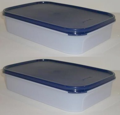 Tupperware Modular Mates Rectangular Storage Containers, Set of Two, Bold n Blue Seals (2 Rectangle #1)