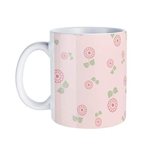 KittyliNO5 Taza de café de porcelana, diseño de plantas florales, idea de regalo para hija hijo blanco, talla única