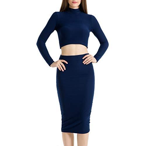SANNYSIS Damen Elegante Bodycon Kleider Zweiteiler Strickkleid Pullikleid Etuikleid Frauen Midi Röcke Langarm Bauchfrei Shirt Herbst Frühling Sweater Pullover Kleid (M, Marine)