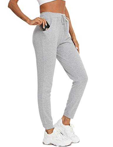Damen Jogginghose Sportswear-Hosen Casual Sweathose Baumwolle Yogahose Sporthosen Athletic-Pants Vier Jahreszeiten 98/100/101.5/103/104.5cm Grau L