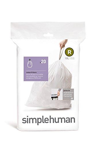 simplehuman Code R Custom Fit Drawstring Trash Bags, 10 Liter / 2.6 Gallon, White, 20 Count