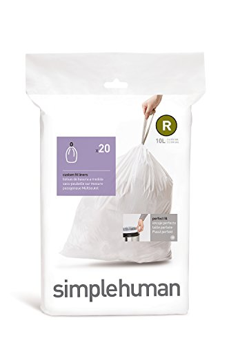 simplehuman, sacchetti su misura codice R, bianchi, confezione da 20