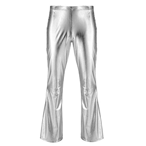 Agoky Herren Glänzend Leder Hose Metallic Slim fit Pants Schlaghose Faschingskostüme Party Tanzen Disco Clubwear in Silber Gold Schwarz...