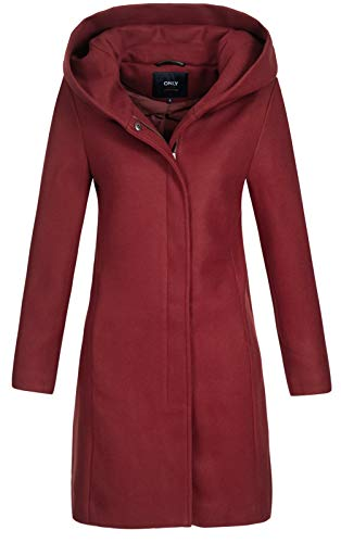 ONLY Damen Wollmantel Sedona Long Wool Coat Jacke mit XL-Kapuze 15180336 Merlot M